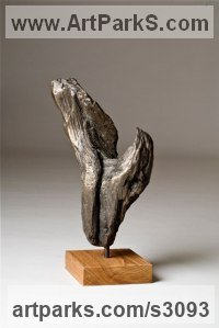 Bronze Organic / Abstract sculpture by Fiona Westphal titled: 'Natures Hand (Small Cast Driftwood abstract Contemporary statue Object)'