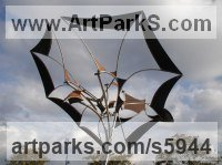 Steels, canvas, bearings Figurative Abstract Modern or Contemporary sculpture statuary statuettes figurines sculpture by sculptor Francois Hameury titled: 'EMIR (Large Butterfly Like Kinetic Wind Mill metal sculptures)'