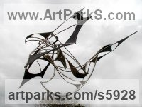 Stainless steel, cor-ten steel, bearings Kinetic or Mobile Sculpture or Statue sculpture by Francois Hameury titled: 'HORUS (Large abstract Kinetic Wind Powered Mobile statues)'