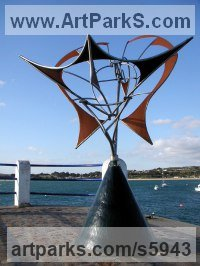 Steels Kinetic or Mobile Sculpture or sculpture by sculptor Francois Hameury titled: 'PHENIX (Kinetic Phoenix Wind Powered Moving Mobile sculptures)'
