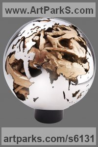 Stainless Steel, Root or Bronze Spherical Globe like Ball shaped Round Abstract Contemporary sculpture statuette sculpture by sculptor Xinmin Fu titled: 'World Affairs (Global Earth Sphere Contemporary statue)'