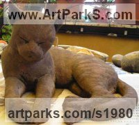 Cats Sculpture by sculptor artist Gaetano Cherubini titled: 'Cat (Drowsing life size Outdoor Cat statues)' in Terracotta