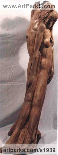 Olive Wood Nudes, Female sculpture by Gaetano Cherubini titled: 'Couple Dancing the Tango (nude Carved Wood statue)'