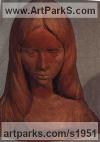 Cherry Wood Human Figurative sculpture by Gaetano Cherubini titled: 'Head of Young Woman (Carved Portrait Bust Girl statue)'