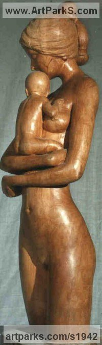 Apple Wood Nudes, Female sculpture by Gaetano Cherubini titled: 'Mother and Child (Carved Wood Mother and Infant statue/sculpture/carving)'