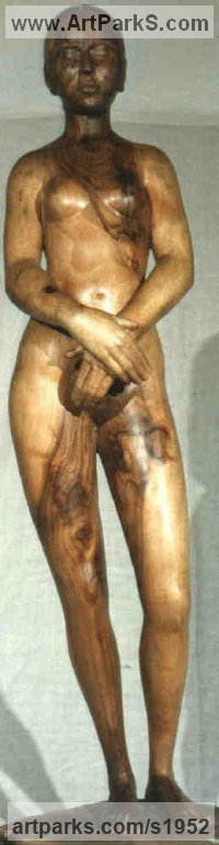 Walnut-wood Human Figurative sculpture by Gaetano Cherubini titled: 'nude of woman'