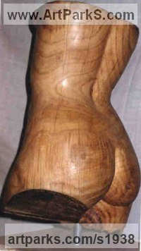 Chestnut Wood Human Figurative sculpture by Gaetano Cherubini titled: 'Womans Torso (Carved Wood nude Girl`s statues)'