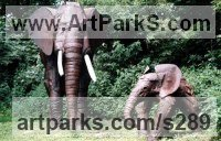 Recycled Metal Elephants (Pachederms) Sculptures, African, Indian, Sumatran sculpture by Gail Van Heerden titled: 'Elephant and New Calf (Steel life size sculpture)'