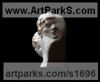 Portland Limestone Busts and Heads Sculptures Statues statuettes Commissions Bespoke Custom Portrait Memorial Commemorative sculpture or statue sculpture by Gareth Christopher Jones titled: 'Alter Ego (Double Head Carved stone statue)'