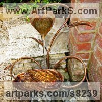 Copper Tree Plant Shrub Bonsai sculpture statue statuette sculpture by Gary Pickles titled: 'Hosta Copper Water sculpture (Pool or Pond Fountain)'