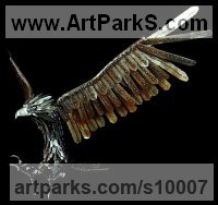 Mild-Steel Birds of Prey / Raptors sculpture by Georgie Poulariani titled: 'After Prey (Metal Eagles in Flight sculptures)'