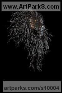 Steel Cats Wild and Big Cats sculpture by Georgie Poulariani titled: 'Guillermo (Contemporary Modern Lion`s Head statue)'