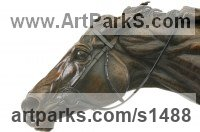 Pet and Animal Portrait Custom or Bespoke or Commission Commemorative or Memoriaql sculpture statue by sculptor artist Georgie Welch titled: 'Going to the Post (bronze Race hHrse sculptures)' in Bronze and silver