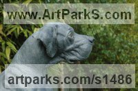 Pet and Animal Portrait Custom or Bespoke or Commission Commemorative or Memoriaql sculpture statue by sculptor artist Georgie Welch titled: 'Great Dane (half life size bronze Portrait Sitting sculpture statue)' in Bronze
