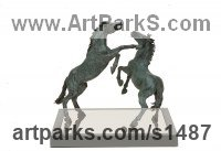 Pet and Animal Portrait Custom or Bespoke or Commission Commemorative or Memoriaql sculpture statue by sculptor artist Georgie Welch titled: 'Stallions (Small bronze Fighting Stallions Indoor statuette)' in Bronze