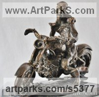 Bronz Transport including Road / Rail / Air / Aircraft / Sea / Maritime sculpture by G�za G�sp�r titled: 'EASY RIDER (Stylised Bronze Motorcyclist and Motor Cycle statue/sculpture)'