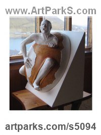 Ceramic Surrealist sculpture by sculptor Gianfranco Nonne titled: 'Genemanipulation (nude World Escape statues)'