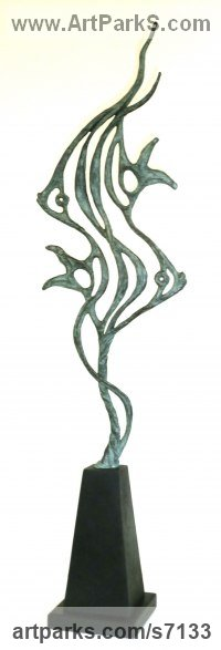 BRONZE Abstract Fish sculpture by Gill Brown titled: 'ANGELS (Semi abstract Contemporary Angel Fish Indoor/Outdoor statuette)'