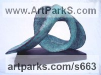 Bronze Birds Abstract Contemporary Stylised l Minimalist Sculpture / Statues sculpture by Gill Brown titled: 'Aquarius the Water Carrier (Modern abstract bronze Contemporary statue)'