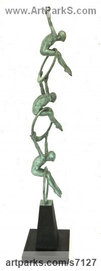 Bronze Human Form: Abstract sculpture by Gill Brown titled: 'Cirque de la Vie (abstract Circus Performers Acrobats statuette)'