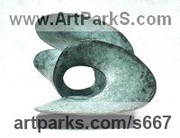 Bronze Abstract Modern Contemporary Avant Garde Sculptures Statues statuettes figurines statuary both Indoor Or outside sculpture by Gill Brown titled: 'Inscape (bronze Little abstract Wavelike Surf statues)'
