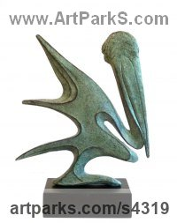 Bronze Birds Abstract Contemporary Stylised l Minimalist Sculpture / Statues sculpture by Gill Brown titled: 'Pelican (bronze abstract Contemporary water Bird statue)'