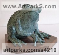 BRONZE Frogs Toads, Newts, Salamanders and Amphibians sculpture by Gill Brown titled: 'Prince Charming (Fun Bronze Big Frog sculptures statue)'