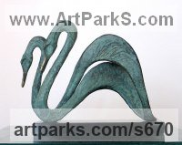 Bronze Wild Bird sculpture by Gill Brown titled: 'Swans (Little Swimming Bronze abstract Pair statuettes)'