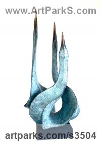 Bronze Birds Abstract Contemporary Stylised l Minimalist Sculpture / Statues sculpture by Gill Brown titled: 'Triptych II (3 small Bronze birds statues/statuettes)'