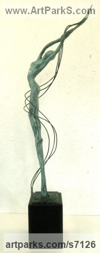 BRONZE Nudes, Female sculpture by Gill Brown titled: 'WHISPER (Bronze Thin abstract Nymph Girl Dryad statue)'