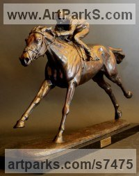 Bronze Champions Sculptures Statues statuettes figurines sculpture by Gill Parker titled: 'Frankel (Little Small Galloping Racehorse and Jockey statue statuette)'