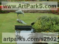 Bronze Water Features, Fountains and Cascades sculpture by Gill Parker titled: 'Grey Heron (bronze life size Stalking garden/yard sculptures/statues)'