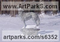 Bronze Dogs Wild, Foxes, Wolves, Sculptures / Statues sculpture by Gill Parker titled: 'Grey Wolf on a Rock (bronze standing Baying life size yard sculptures)'