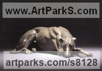 Bronze Dogs sculpture by Gill Parker titled: 'Greyhound (life size Bronze Sleeping statue sculpture)'