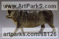 Bronze African Animal and Wildlife sculpture by Gill Parker titled: 'Hippo (bronze GapingBellowing Small Hippo statue statuette sculpture)'