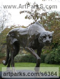 Bronze Cats Wild and Big Cats sculpture by Gill Parker titled: 'life size Cheetah (African Big Cat Stalking sculpture)'