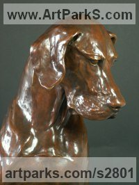 Bronze Dogs sculpture by Gill Parker titled: 'life size Great Dane (Big Bronze Dog Sitting statues)'