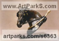 Bronze Horses Heavy / Working Shire, Plough, Dray, Barge, Horses Sculptures Statues statuettes commissions memorials sculpture by Gill Parker titled: 'Sunday Workhorse (Head/Bust Cart Horse statuette/statue/sculpture)'