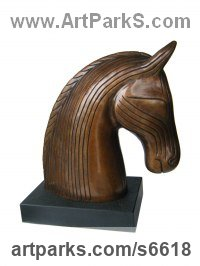 Bronze Horse Sculpture / Equines Race Horses Pack HorseCart Horses Plough Horsess sculpture by Gilly Thomas titled: 'EFAY (Bronze Stylised contemporary Horse Head Bust statuette/sculpture)'