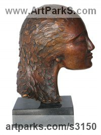 Bronze Commission and Custom and Bespoke sculpture sculpture by sculptor Gilly Thomas titled: 'Not Talking (Small Womans Head and Hair Bust statues/statuettes)'