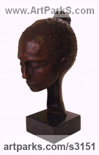 Bronze Females Women Girls Ladies sculpture statuettes figurines sculpture by sculptor Gilly Thomas titled: 'Pensive (Small bronze Indoor Womans Head or Bust sculptures)'