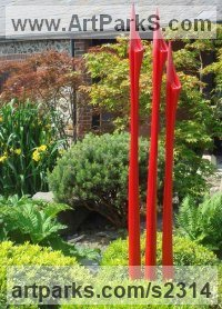 Resin (or metal) Abstract Contemporary Modern Outdoor Outside Garden / Yard Sculptures Statues statuary sculpture by Ginger Gilmour titled: 'Sylph Reeds (Cold Cast Metal resin abstract Coloured Reeds)'