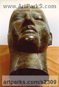 Bronze Sculpture of Men by Giorgie Cpajak titled: 'Dream (bronze Big Head Sleeping Back Yard garden sculpture/statue)'