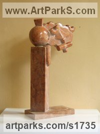 Small / Little Abstract Contemporary Sculpture / Statues by sculptor artist Giorgie Cpajak titled: 'Fantazy (Stone abstract Contemporary Modern statue)' in Red marble