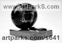 Black Belgian marble Fruit sculpture by Giorgie Cpajak titled: 'Fruition (Little Round stone Globe abstract statue)'