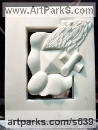 Square Rectangular Cube shaped Abstract sculpture statue by sculptor artist Giorgie Cpajak titled: 'My Dreams (Contemporary Modern Carved marble statue)' in White marble