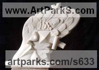 Birds Abstract Contemporary Stylised l Minimalist Sculpture / Statues by sculptor artist Giorgie Cpajak titled: 'Wing (Carved abstract Contemporary stone outdoor statue)' in Marble statario