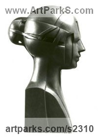 Black Granite Busts and Heads Sculptures Statues statuettes Commissions Bespoke Custom Portrait Memorial Commemorative sculpture or statue sculpture by Giorgie Cpajak titled: 'Woman (Carved stone Girl`s Head/Bust carving statue)'