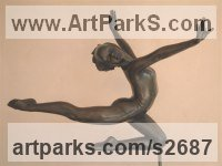 Ballet Dancer Ballerina Classical Dance Sculpture Statues statuettes Figurines by sculptor artist Glenis Devereux titled: 'Spirit of Dance (Small Little Bronze nude Ballet Dance sculpture/statue)' in Bronze