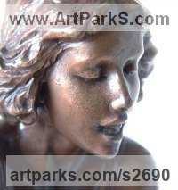 Bronze Arte Nouveau Style sculpture by Glenis Devereux titled: 'Waters Edge (Small bronze Gtrl Young Woman female statue statuette)'